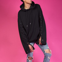 Black Laced Up Sleeve Hoodie