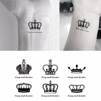 HC series couple waterproof temporary tattoo,sexy black crown,five-pointed star design,body painting disposable tattoos Stickers