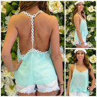 Indio Aqua Green Daisy Tank Top