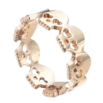 Heart Skulls ring in gold silver color Infinity Jewelry Skull rings  Band ring Geek Gift Fashion for women girls