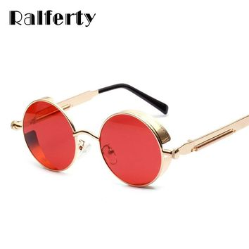 Ralferty Steampunk Sunglasses Men Women Brand Designer Vintage Round Metal Sun Glasses Clear Red Lens Eyewear Retro Shades W1132