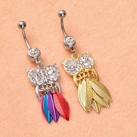 Owl Leaves Rhinestone Body Piercing Navel Belly Ring Bars Button