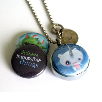 Yeti and Dragon Locket Necklace - Magnetic and Recycled