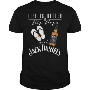 Life is better in flip flop with Jack Daniels shirt Guys Tee