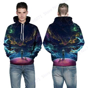 Psychedelic Space Galaxy Hooded Skateboard Hoodies Men & Dog Sweatshirt Autumn Men's Streetwear Tracksuit Winter Jumper Pullover