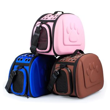 Small Dog Cats Carrier Bag Windproof Winter Paw Print Chihuahua  Dog Bag Fashion Luxury Portable Dog Travel Bag Pet Tote