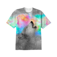Breathing Dreams Like Air (Wolf Howl Abstract II: Gray) Unisex T-Shirt created by soaringanchordesigns | Print All Over Me