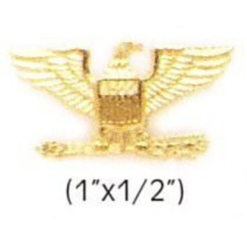 """COLONEL EAGLE GOLD UNIFORM COLLAR BRASS PINS INSIGNIA EMBLEM ARMY MILITARY POLICE, SMALL 1"""" x 1/2"""" (Sold as PAIR, 2 Included !)"""