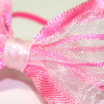 Striped Pink Dog Bows. Hot Pink Organza Ribbon Puppy Bows with Elastic Bands. Dark Pink Ribbon Pet Accessories for Small Dog. Poodle Bows