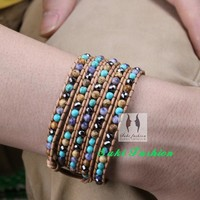 High Quality Chic Mixed Stones Natural Leather Wrap Bracelet Handmade Boho Bracelet with stones