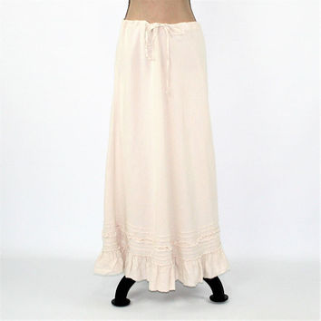 Long Linen Skirt Large Maxi Skirt Hippie Clothes Drawstring Waist Casual Skirts Cream Beige Womens Skirts Vintage Clothing