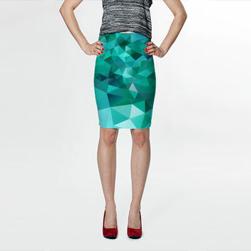 Pencil Skirt Modern Art Skirt Pattern Skirt Fitted Skirt Geometric Skirt Emerald Skirt Green skirt Flower Skirt S M L XL