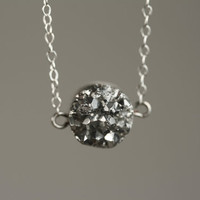 Small Drusy Agate Silver Nugget Necklace on Sterling Chain, Metallic Gray Druzy Pendant, Round Stone, Bling, Shiny, Sparkly Jewelry