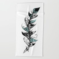 Poetic Feather Beach Towel by LouJah