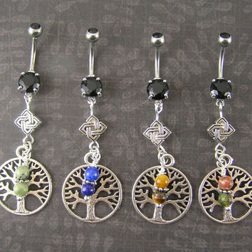 Natural Stone Tree of Life Celtic Knot Belly Bar Ring Choose 1, African Turquoise, Lapis, Tiger Eye, Unakite, Organic, Healing, Pagan, Wicca