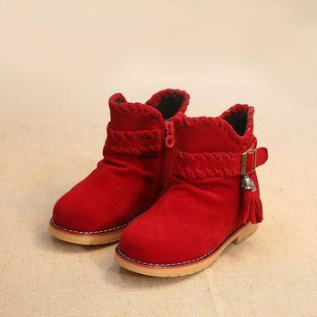 CREYUG3 Children Korean Dr Martens Winter Suede Tassels Cotton Stylish Princess Shoes Boots [4919281028]