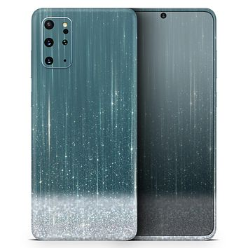 Scratched Teal and White Surface with Silver Sparkle - Skin-Kit for the Samsung Galaxy S-Series S20, S20 Plus, S20 Ultra , S10 & others (All Galaxy Devices Available)