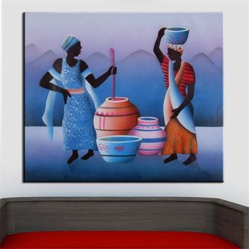 Women Cooking Aboriginal Abstract Oil Painting Canvas Prints Wall Painting