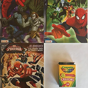 Three SpiderMan Coloring and Activity Books Comes With 24 Pack of Crayola Crayons
