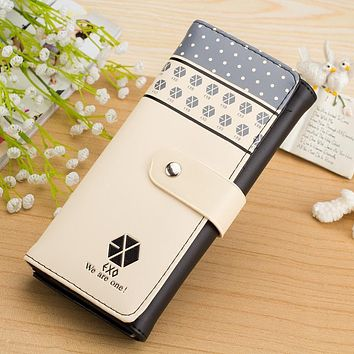 KPOP korea star goods products EXO fans PU leather wallet blue black purse fanmade
