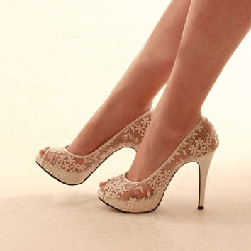 Sexy see through lace bridal wedding shoes party prom pumps , white lace open peep toe shoes