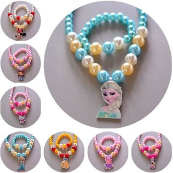 2 pcs/lot Disney Children's Doll Accessories Girls Necklace + Bracelet Set Baby Gift Frozen princess