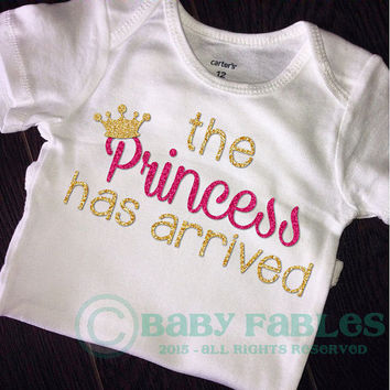 The Princess has arrived bodysuit gold glitter baby take home outfit baby girl glitter shirt Gold Glitter Pink Glitter Crown Hipster Sparkly