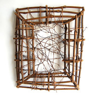 Set of Two Twig & Vine Frame Vintage Handmade Rustic EcoChic Woodland Willow Frame Upcycled Minimalist Home Decor Cottage Chic Wedding Gift