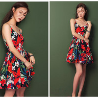 floral dress women,short length,strap,pleated,V neck,resort,beach,for summer.--E0230