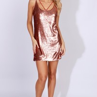 Sleeveless Sequin Dress Rust