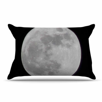 "Sylvia Coomes ""The Moon"" Black White Pillow Case"
