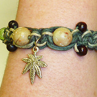 Pot Leaf  Marijuana Hemp Bracelet Anklet    macrame handmade jewelry  hippie unisex guys girls mens