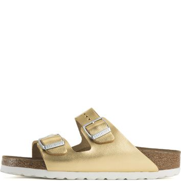 Birkenstock for Women: Arizona Liquid Gold Leather Soft Footbed Narrow Sandal