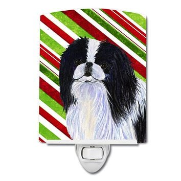 Japanese Chin Candy Cane Holiday Christmas Ceramic Night Light SS4536CNL