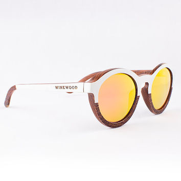 Wood Sunglasses, Polarized Sunglasses, Wooden Sunglasses, Wood Eyewear, Handmade Sunglasses, White Sunglasses, Unique Sunglasses by WINKWOOD