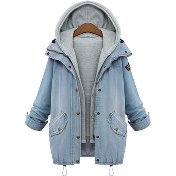 2016 jacket women Two Piece Set Denim Jacket Hooded Plus Size Oversized Casual Women Coat Outwear Light Blue Ropa Mujer