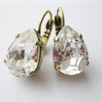 Vintage Style Rustic Bridesmaid Earrings Crystal Teardrop Earrings Bridal Jewelry Antique Brass Wedding Jewelry Swarovski Elements