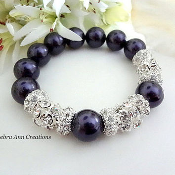 Swarovski Dark Purple Pearl Bracelet Crystal Fall Eggplant Wedding Purple Bridal Bridesmaid Jewelry Mother of the Bride Groom Gift Chunky