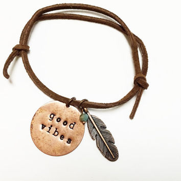 Good Vibes Adjustable Leather Bracelet, Feather