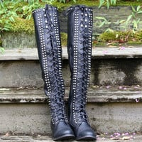 Escape To The Valley Black Tall Over Knee Studded Riding Boots