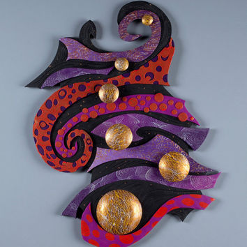Currents of Space Large Unique Wall Art 3D in Red, Purple,  Black, & Gold Polymer Clay. Earth Charity 100%