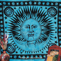 Psychedelic Celestial Tapestry, Sun & Moon Tapestry, New Age Dorm Decor - Beach Sheet - Hanging Wall Art - Yoga Decoration, Indian Tapestry