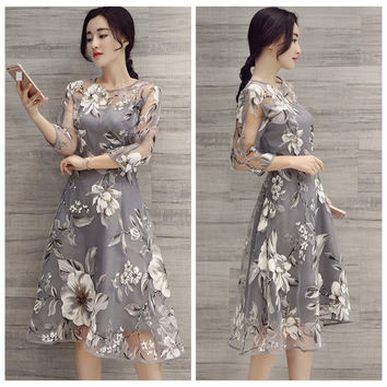 Summer Women Dress 2016 Fashion Woman Organza Floral Printed Dresses Sundress O-Neck Sexy 3/4 Sleeves Female Slim Long Dresses