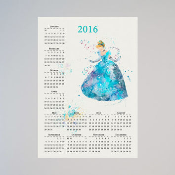 Disney Cinderella Princess Calendar Personalized 2016 Watercolor Picture Print Save the date gift New Year Birthday present