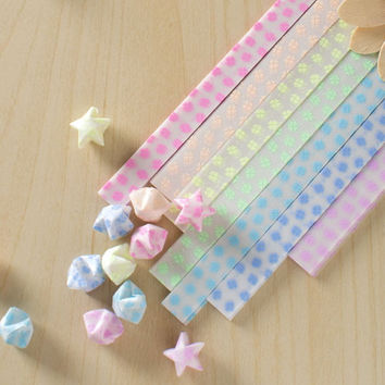 Origami Paper /Lucky Star Assorted / Favour Strips 2 Colors Mixed / Daisy Letter Glow in Dark Folding 60 Stripes