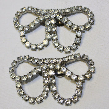 Vintage Rhinestone Bow Shoe Clips by patwatty on Etsy