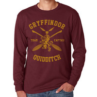 Gryffindor Quidditch team Captain Yellow print on Longsleeve MEN tee