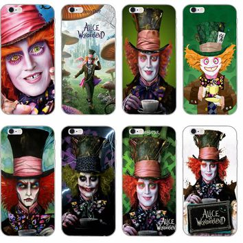 cool Mad Hatter Alice In Wonderland Slim Silicone Soft phone case For iPhone 4 4s 5 5s 5c SE 6 6s plus 7 7plus 8 8plus X