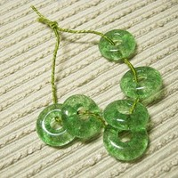 Handmade Green Jewelry Beads / Fused Glass / Set of 6 / Lime Green / For Your Handcrafted Jewelry Designs or Crafts