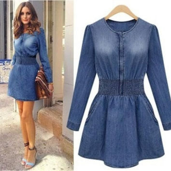 2015 Spring Autumn Winter Women's Denim Long-sleeve Slim Elastic Waist Casual Jeans Dress S~XXL D4N702 = 1930031620